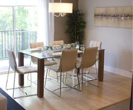 Exemple d'aménagement d'une salle à manger d'un condo dans le projet Pointe-Est, à Pointe-aux-Trembles.
