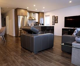 Salon moderne dans un condo du projet Pointe Est