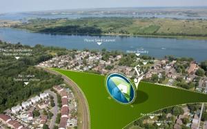 Vue aérienne de l'emplacement du projet Pointe Est et les attraits à proximité, à Pointe-aux-Trembles